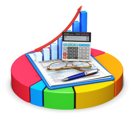 Business finance, tax, accounting, statistics and analytic research concept: office electronic calculator, bar graph, pen and eyeglasses on financial reports in clipboard on color pie chart isolated on white background. All texts are fully abstract
