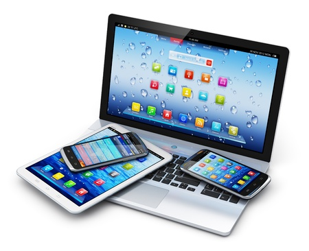 Mobile devices, wireless communication technology and internet web concept