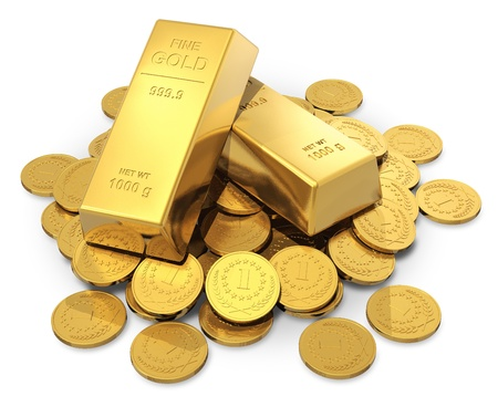 Creative business, finance, banking, stock exchange market trading and wealth concept  heap of golden ingots or bullions and gold money coins isolated on white background