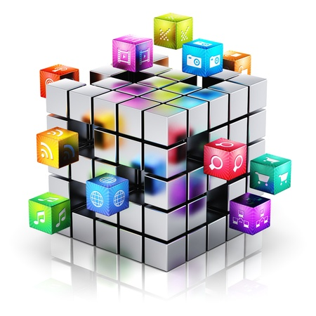 Photo pour Creative mobile applications, media technology and internet networking web communication concept  metal cube with cloud of color application icons isolated on white background with reflection effect - image libre de droit