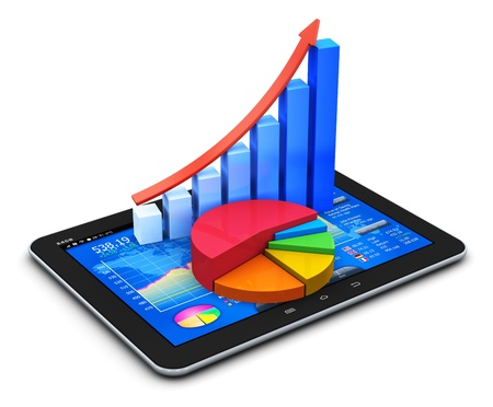 Photo for Mobile office, stock exchange market trading, statistics accounting, financial development and banking business concept  modern touchscreen tablet computer PC with stock market application software interface, growth bar chart and pie diagram isolated on w - Royalty Free Image