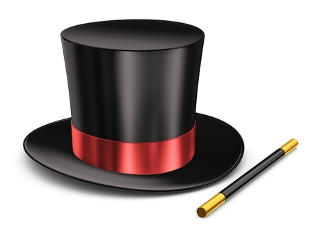 Foto de Black silk magic hat with red ribbon and magic wand stick isolated on white background - Imagen libre de derechos