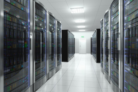 Modern network and telecommunication technology computer concept  server room in datacenter