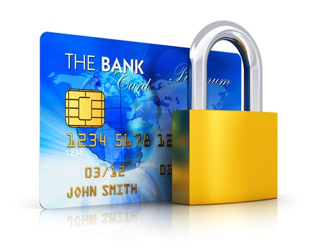 Creative abstract business banking money financial security, online shopping and corporate accounting concept  blue credit card with bronze padlock or key lock isolated on white background with reflection effect