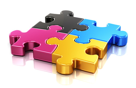 Creative color printing computer technology, typography, press and publishing abstract concept  colorful CMYK puzzle jigsaw pieces