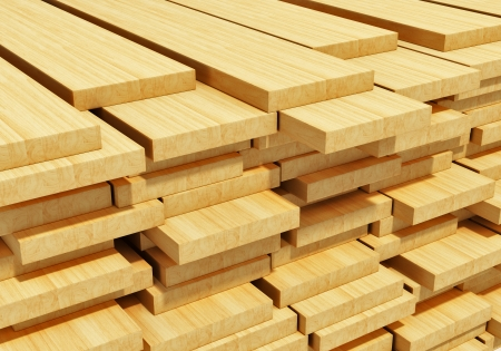Timberwork, lumber work and woodwork industry concept  macro view of stacks of wooden timber planks