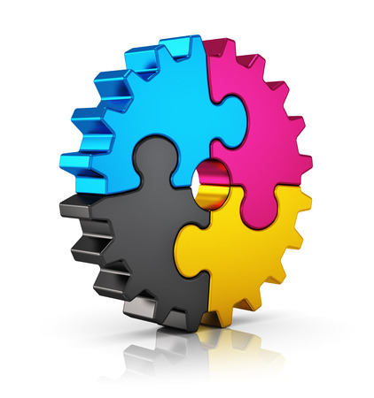 Creative color printing computer technology, typography, press and publishing abstract concept  colorful CMYK puzzle jigsaw gear isolated on white with reflection effect