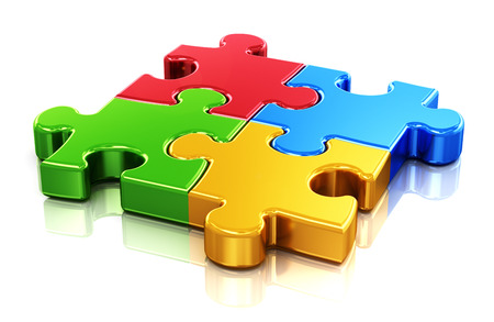 Creative business, office, teamwork, partnership and communication corporate concept   four color red, blue, green and yellow puzzle jigsaw pieces isolated on white with reflection effect