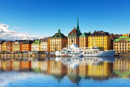 Scenic summer panorama of the Old Town  Gamla Stan  architecture pier in Stockholm, Sweden