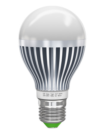 Creative power saving and energy conservation industry business ecological concept  metal LED electric lamp isolated on white background  Design is my own and all text labels are fully abstract