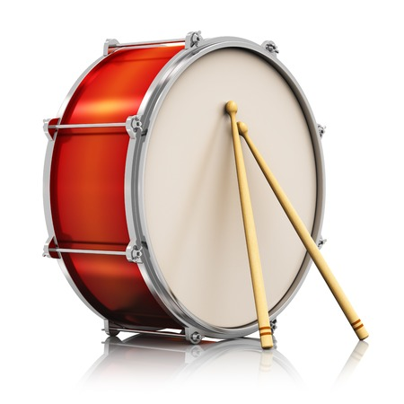 Creative abstract musical instrument concept  red drum with pair of drumsticks isolated on white background with reflection effect