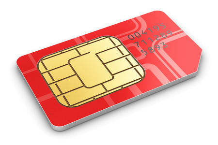 Photo pour Creative abstract mobile telecommunication, wireless technology and mobility business concept  macro view of single red SIM card for mobile phone or smartphone isolated on white background - image libre de droit