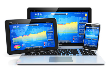 Stock exchange market trading, banking and financial business accounting concept  modern metal laptop notebook, tablet computer PC and touchscreen smartphone with stock market application software isolated on white background with reflection effect
