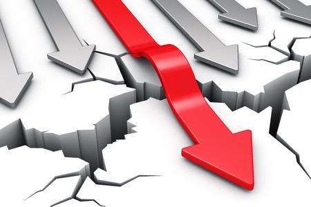 Foto de red arrow overcoming crack obstacle isolated on white background - Imagen libre de derechos