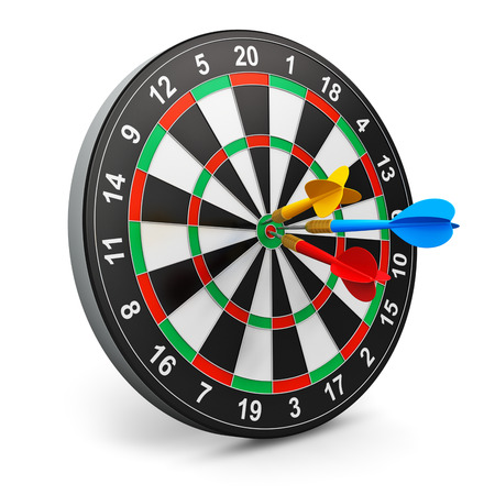 darts game with dartboard and color arrows isolated on white background