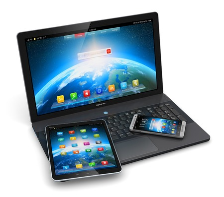 business laptop or office notebook, tablet computer PC and modern black glossy touchscreen smartphone with colorful application interfaces isolated on white background