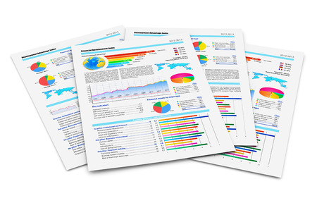 Creative abstract business paperwork and office work corporate concept  stack of paper documents with financial reports with color bar graphs, pie charts and statistic information data isolated on white