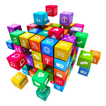 Photo pour Creative mobile applications, media technology and internet networking web communication concept  colorful metallic cube with cloud of color application icons isolated on white background - image libre de droit