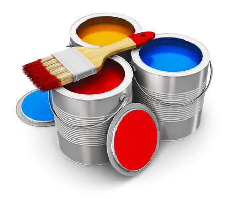 Metal tin cans with color paint and paintbrush isolated on white background