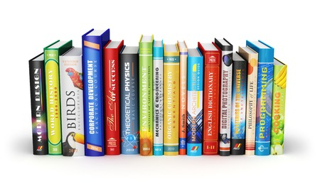 Creative abstract science, knowledge, education, back to school, business and corporate office life concept  color hardcovers books isolated on white background