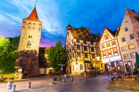 Scenic summer night view of the Old Town medieval architecture with half-timbered buildings in Nuremberg, Germany