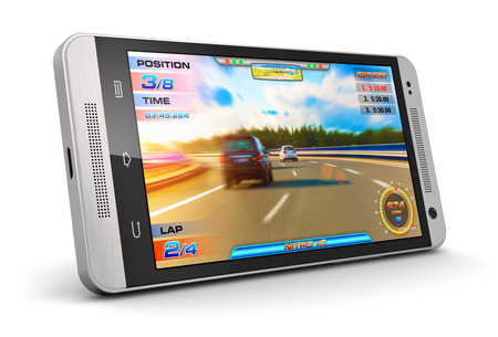 Creative abstract mobile gaming and computer entertainment technology concept: modern black glossy touchscreen smartphone with video game isolated on white background