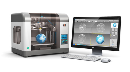 Creative 3D ABS plastic printing technology business concept: modern 3D printer and professional desktop workstation computer PC with 3D design software interface isolated on white