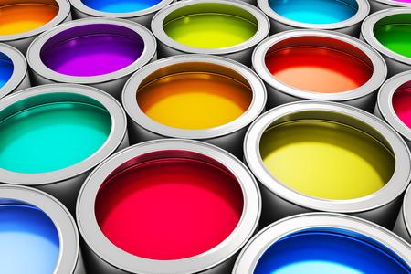 Foto de Abstract creativity concept: group of tin metal cans with color paint dye - Imagen libre de derechos