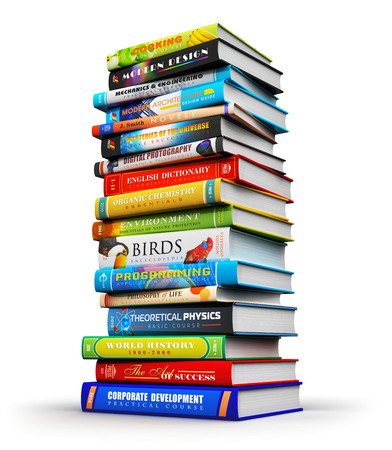 big high stack or pile of color hardcover books isolated on white background