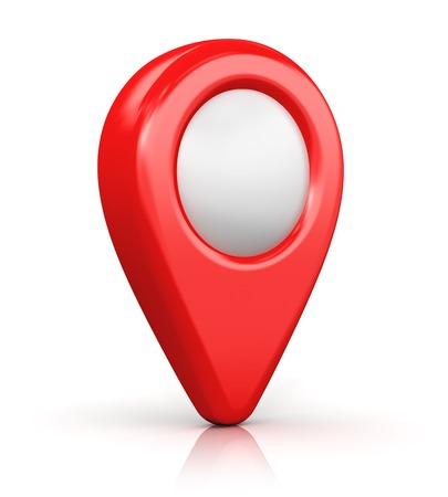 Creative abstract GPS satellite navigation, travel, tourism and location route planning business concept: red destination pointer marker icon isolated on white background with reflection effect