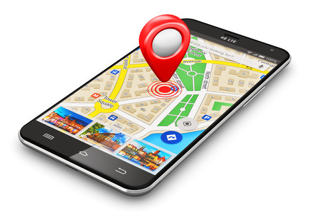 Creative abstract GPS satellite navigation, travel, tourism and location route planning business concept: modern black glossy touchscreen smartphone or mobile phone with wireless navigator map service internet application on screen and red destination poi