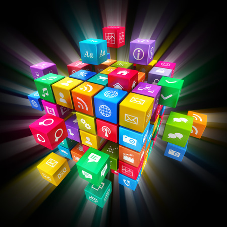 Photo pour Creative mobile applications, social media technology and internet networking web communication concept: colorful cube with cloud of color application icons on black background with glowing effect - image libre de droit