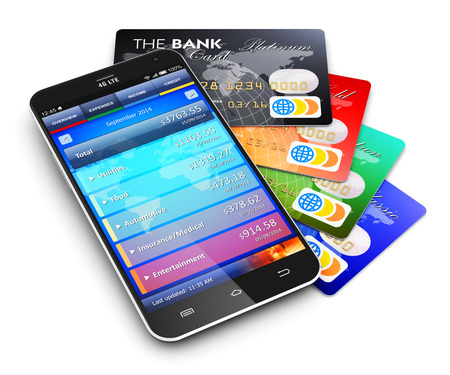 Creative abstract mobile banking, business finance and making money commercial technology concept: modern metal black glossy touchscreen smartphone with personal wallet application and group of color credit cards isolated on white background with reflecti