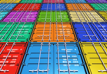Foto de Creative abstract freight transportation, shipment and logistics business industry concept: background from group of color metal cargo containers - Imagen libre de derechos