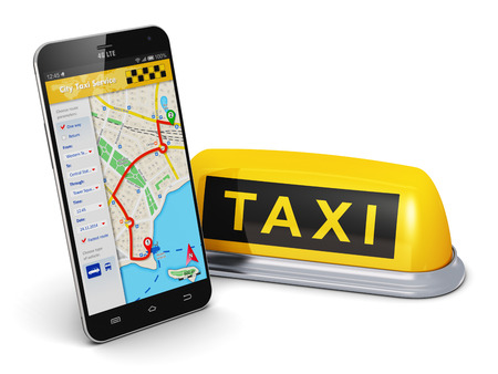 Photo pour Creative abstract travel, tourism sightseeing and internet web taxi service business transportation concept: modern black glossy touchscreen smartphone with online satellite GPS taxi application software on screen and yellow taxi sign isolated on white ba - image libre de droit