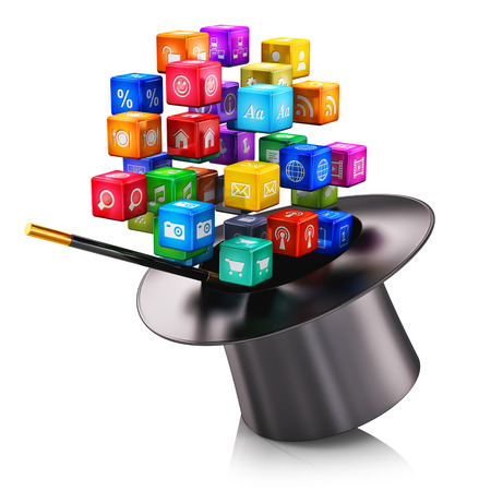 Photo pour Creative abstract mobile applications media technology and internet networking web communication concept: cloud of colorful metallic cubes with color application icons and magic hat with magic stick isolated on white background with reflection effect - image libre de droit