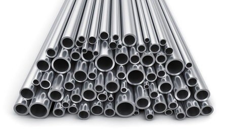 Creative abstract heavy metallurgical industry and industrial manufacturing business production concept: heap of shiny metal steel pipes isolated on white background