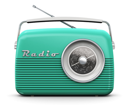Photo pour Old turquoise or green vintage retro style radio receiver isolated on white background - image libre de droit