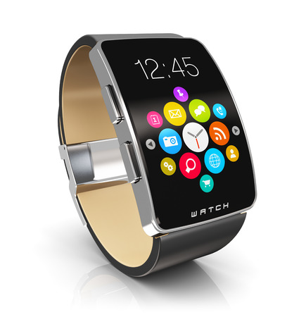 Photo pour Creative abstract business mobility and modern mobile wearable device technology concept: digital smart watch or clock with color screen interface with colorful application icons and app buttons isolated on white background with reflection effect - image libre de droit
