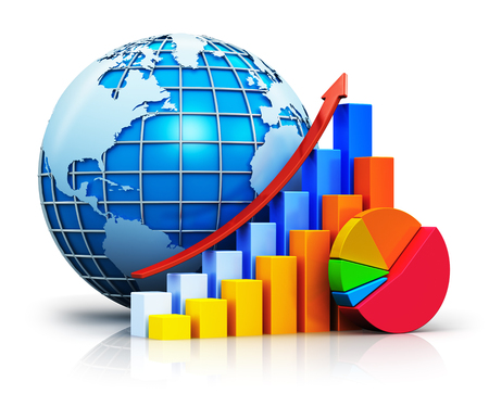 Creative abstract global business communication success, worldwide financial growth and development concept: color growing bar graphs with red rising arrow, colorful pie chart and blue Earth globe sphere with world map isolated on white background with reの写真素材