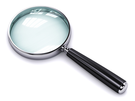 Creative abstract search, seek and find information business office technology internet concept: metal shiny magnifying glass or magnifier isolated on white background