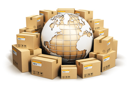 Photo for Creative abstract global logistics, shipping and worldwide delivery business concept: Earth planet globe surrounded by heap of stacked corrugated cardboard boxes with parcel goods isolated on white background - Royalty Free Image