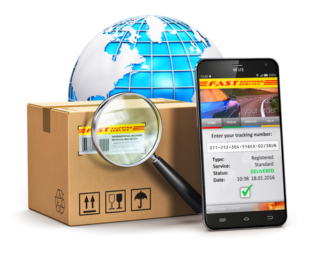 Photo for Creative abstract global logistics, worldwide shipping, delivery and online internet order parcel tracking technology business commercial concept: black glossy touchscreen smartphone with mail parcel tracking application on screen, corrugated cardboard ca - Royalty Free Image