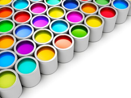 Photo pour Abstract creativity concept: group of tin metal cans with color paint dye isolated on white background - image libre de droit
