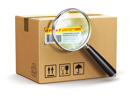 Photo pour Creative abstract global logistics, worldwide shipping, delivery and online internet order parcel tracking technology business commercial concept: corrugated cardboard carton box parcel with tracking number and barcode and magnifier glass lens isolated on - image libre de droit