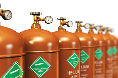 Creative abstract fuel industry manufacturing business concept: 3D render illustration of the group of brown metal steel liquefied compressed natural helium gas containers or cylinders with high pressure gauge meters and valves arranged in row and isolate