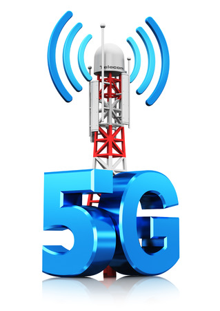 Creative abstract 5G digital cellular telecommunication technology and wireless connection business concept: 3D render illustration of mobile base station or TV transmitter antenna pylon with 5G sign, symbol or logo isolated on white background with refle