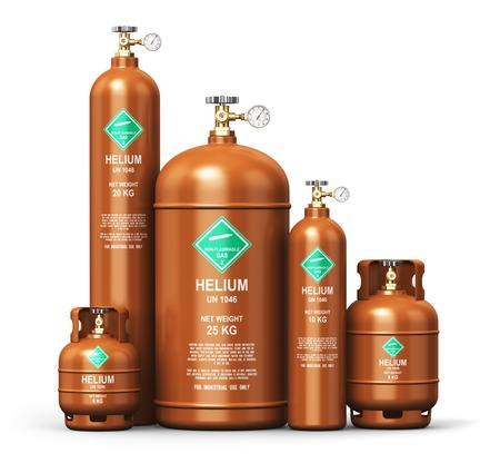 Creative abstract fuel industry manufacturing business concept: 3D render illustration of the set of brown metal steel liquefied compressed natural helium gas containers or cylinders with high pressure gauge meters and valves isolated on white background