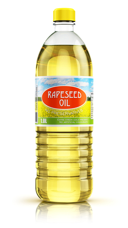 Photo pour 3D render illustration of plastic bottle of yellow refined vegetable rape or rapeseed cooking oil or organic fat isolated on white background with reflection effect - image libre de droit
