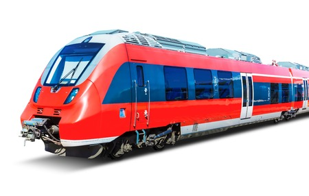 Foto de Creative abstract railroad travel and railway tourism transportation industrial concept: red modern high speed passenger commuter train isolated on white background - Imagen libre de derechos